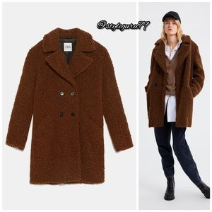 NWT, ZARA, Brown Teddy Bear Faux Fur Coat